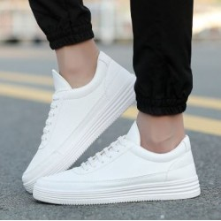 Sneakers En Cuir Souple chaussures décontractées Plat