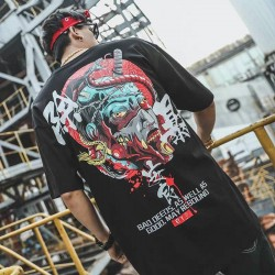 T-shirt décontracté lâche diable imprimer t-shirt streetwear