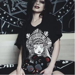 T-shirt Punk Grunge noir gothique Punk Harajuku Streetwear été 2020